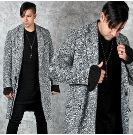 Marled Gray Snap Button Long Coat 110
