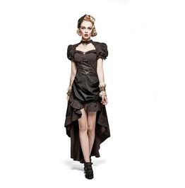 Victorian Style Steampunk High Low Ruffles Corset Baroness Dress
