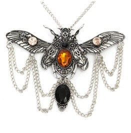 Steampunk Detailed Beetle Pendant Necklace