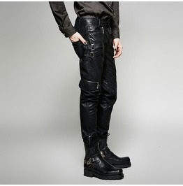 Gothic Fetish Military Steampunk Rock Metal Leather Look Black Pant