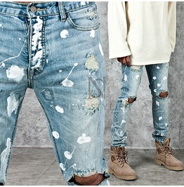 Splash Painting Accent Distressed Light Blue Denim Jeans 250