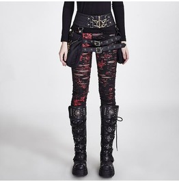 Gothic Zombie Ripped Off Denim Red Leggings