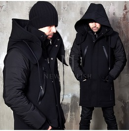 Multiple Accent Detachable Hood Neoprene Parka 28