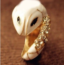 White Snake Ring W/ Austrian Crystals