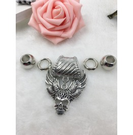 Silver Scarf Ring Pendant ~ Wings & Skull W/ Free Scarf