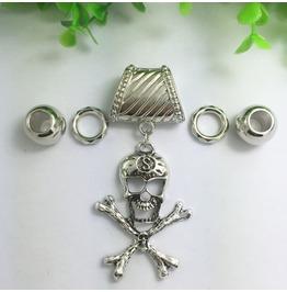 Silver Scarf Ring Pendant ~ Skull & Bones W/ Free Scarf