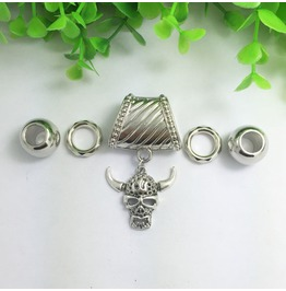 Silver Scarf Ring Pendant ~ Skull & Horns W/ Free Scarf