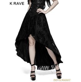 Q 313 Black Gothic Positioning Flowers Decadent Half Skirt
