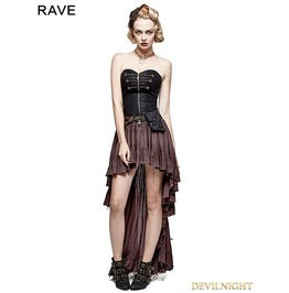 Q 311 Co Coffee Steampunk High Low Corset Dress