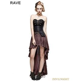 Q 311 Co Coffee Steampunk High Low Corset Dress
