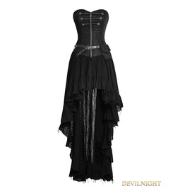 Q 311 Bk Black Steampunk High Low Corset Dress