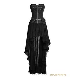 Q 311 Bk Black Steampunk High Low Corset Dress