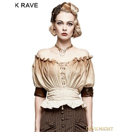 T 444 Ow Ivory Steampunk Slash Neck T Shirt For Women