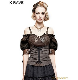 Y 727 Coffee Steampunk Gear Burnt Out Vest For Women