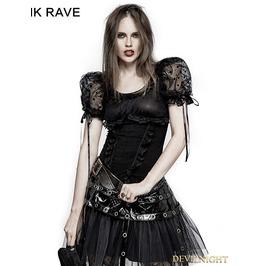 Lt 008 Black Gothic Lolita Puff Sleeve Short T Shirt For Women