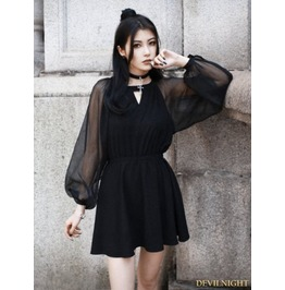 Vck 0004 Black Gothic Short Dress With Long Organze Sleeves