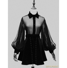 Vck 0003 Black Sexy Gothic Long Sleeves Blouse For Women