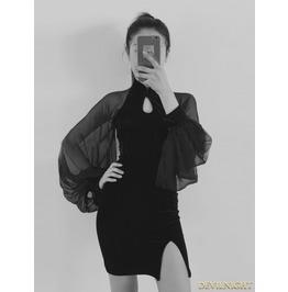 Vck 0002 Black Velvet Sexy Cheongsam Style Gothic Dress