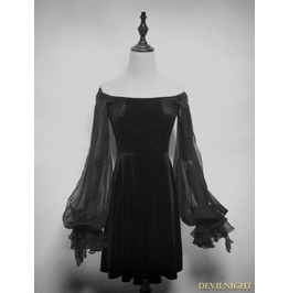 Vck 0001 Black Velvet Long Sleeves Short Gothic Dress