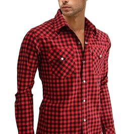 Nwt Men Red Check Plaid Gingham Snap Slim Long Sleeve Shirt Sz M L Xl