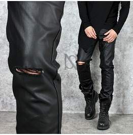 Knife Cut Coated Black Slim Jeans 252