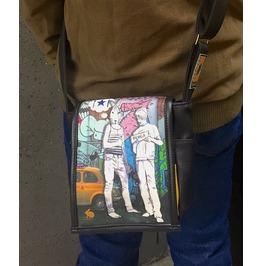 Mini, Hitch Print, Benga Rabbit, Black Vegan Leather, Messenger Bag
