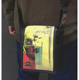 Mini, Your Way Print, Benga Rabbit, Black Vegan Leather, Messenger Bag