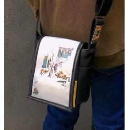 Mini, Nyc Print, Benga Rabbit, Black Vegan Leather, Messenger Bag