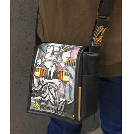 Mini, Traveling Print, Benga Rabbit, Black Vegan Leather, Messenger Bag