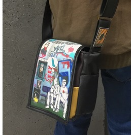 Mini, Hitch 2 Print, Benga Rabbit, Black Vegan Leather, Messenger Bag
