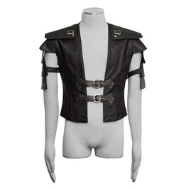 Punk Rave Men's Retro Multilayer Faux Leather Vest Y632