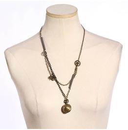 Steampunk Retro Bronze Cover Pocket Quartz Watch Necklace 194