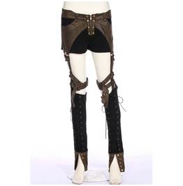 Steampunk Faux Leather Lace Up Pants With Detachable Trouser Legs 190