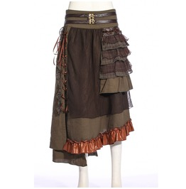 Women's Steampunk Side Lace Up Ruched Iregular Skirt 187