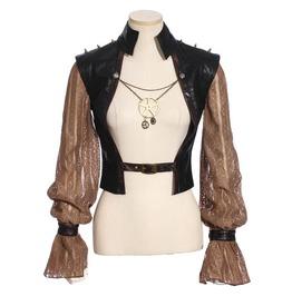Women's Steampunk Lace Sleeve Rivets Gear Chain Short Jacket 183