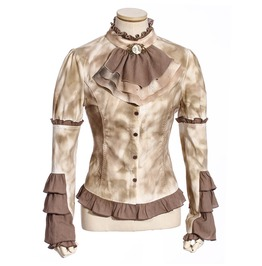 Gothic Ruched Hem Back Lace Up Slim Fitted Tops Shirts With Flower Neckties