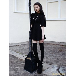 Vck 0007 Black Short Sleeves Gothic Velvet Dress