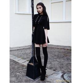 Vck 0007 Black Short Sleeves Gothic Velvet Dress