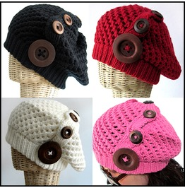 New Lady Winter Knit Hat With 4 Wooden Buttons Line On Left Side Free Size