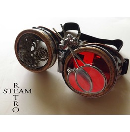 Bronze Steampunk Goggles Double Loupe Red Multi Lens Cyber Goggles