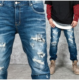 Distressed Washed Blue Denim Straight Jeans 251
