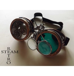 Bronze Steampunk Goggles Double Loupe Green Multi Lens Cyber Goggles