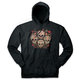 Pins & Bones Retro Day Of The Dead Flowered Skulls Unisex Pullover Hoodie