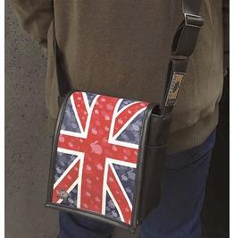 Mini, Union Jack Print, Benga Rabbit, Black Vegan Leather, Messenger Bag