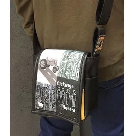 Mini, Fd Black Print, Benga Rabbit, Black Vegan Leather, Messenger