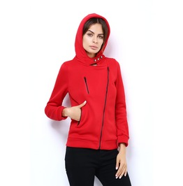 Side Pocket Zip Up Red Hoodie
