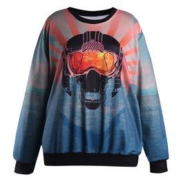 3 D Skull Printed Casual Sweatshirts