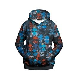 3 D Mini Skull Printed Punk Hoodies