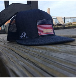 Original Hand Embossed American Flag On Denim Cap