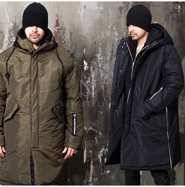 Sleeve Zipper Accent Loose Fit Long Padded Parka 30